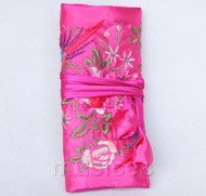 handmade embroider silk pink-red colors Jewelry bags pouches roll T789A11