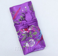 handmade embroider silk purple colors Jewelry bags pouches roll T785A11