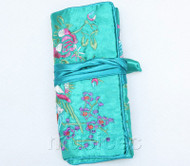 handmade embroider silk sky-blue colors Jewelry bags pouches roll T782A11