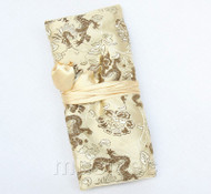 handmade silk champagne colors Jewelry bags pouches roll T780A11