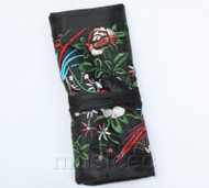 handmade embroider silk black colors Jewelry bags pouches roll T779A11