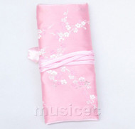 handmade silk pink colors Jewelry bags pouches roll T777A11