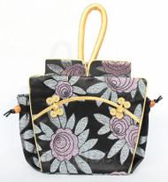 popular oriental style black Chinese silk handbag bag purses T757A24