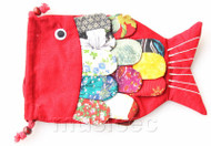 New Fashion red Chinese handmade FLAX fish bag purse T749A20E7