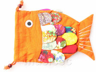 New Fashion yellow Chinese handmade FLAX fish bag purse T747A20E7