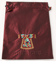 clothing pattern wine red embroidery silk shoes bag pouch T698A66E3