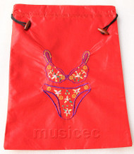 Bikini pattern red embroidery silk shoes bag pouch T686A74E3
