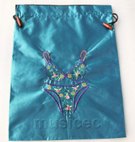 Bikini pattern blue embroidery silk shoes bag pouch T684A74E3