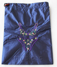 Bikini pattern dark blue embroidery silk shoes bag pouch T679A74E3