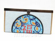 oriental style light blue silk handbag bags purses T638A18