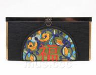 oriental style black silk handbag bags purses T637A18