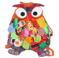 27X36cm orange Chinese handmade FLAX OWL bag purse T620A54