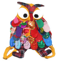 27X36cm yellow Chinese handmade FLAX OWL bag purse T618A54