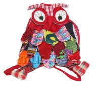 Brand-New 23X33cm red Chinese handmade FLAX OWL bag purse T613A28