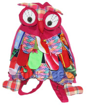 Brand-New 23X33cm pink-red Chinese handmade FLAX OWL bag purse T612A28