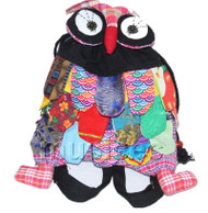 Brand-New 23X33cm black Chinese handmade FLAX OWL bag purse T609A28