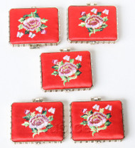 5piece red oblong embroider silk Carrying Makeup Mirror T581A4E11