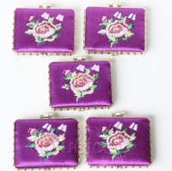 5piece purple oblong embroider silk Carrying Makeup Mirror T579A4E11