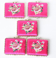 5piece pink oblong embroider silk Carrying Makeup Mirror T578A4E11
