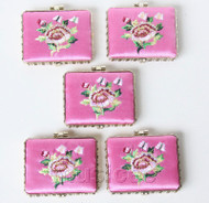 5piece pink oblong embroider silk Carrying Makeup Mirror T574A4E11