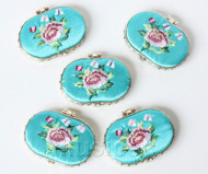 5piece sky-blue ellipse embroider silk Carrying Makeup Mirror T572A4E11