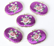 5piece purple ellipse embroider silk Carrying Makeup Mirror T571A4E11