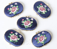 5piece blue ellipse embroider silk Carrying Makeup Mirror T570A4E11