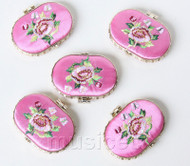 5piece pink ellipse embroider silk Carrying Makeup Mirror T569A4E11