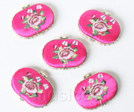 5piece pink-red ellipse embroider silk Carrying Makeup Mirror T568A4E11