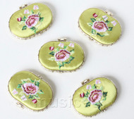 5piece light green ellipse embroider silk Carrying Makeup Mirror T566A4E11