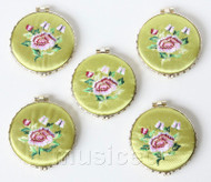 5piece light green round embroider silk Double-Sided Makeup Mirror T564A4E11
