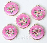 5piece pink round embroider silk Double-Sided Makeup Mirror T563A4E11