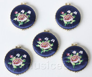 5piece navy blue round embroider silk Double-Sided Makeup Mirror T559A4E11
