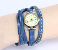 Fashion blue Quartz Roma Number adjustable Leather Bracelet Watch T533A28
