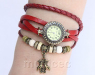 "Fashion 7""-7.5"" red Quartz Number adjustable Leather Bracelet Watch T532A28"