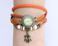 "7""-7.5"" Light Brown Quartz Number adjustable Leather Bracelet Watch T531A28"