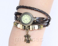 "Fashion 7""-7.5"" brown Quartz Number adjustable Leather Bracelet Watch T530A28"
