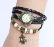 "Fashion 7""-7.5"" black Quartz Number adjustable Leather Bracelet Watch T529A28"