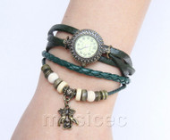 "Fashion 7""-7.5"" green Quartz Number adjustable Leather Bracelet Watch T528A28"