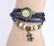 "Fashion 7""-7.5"" blue Quartz Number adjustable Leather Bracelet Watch T527A28"