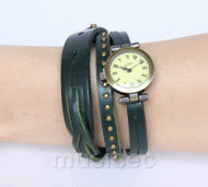 Fashion green Quartz Roma Number adjustable Leather Bracelet Watch T524A28
