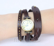 Fashion Brown Quartz Roma Number adjustable Leather Bracelet Watch T523A28