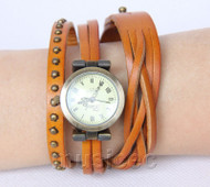 Fashion Light Brown Quartz Roma Number adjustable Leather Bracelet Watch T522A28