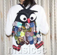 Brand-New Fashion black Chinese handmade FLAX OWL bag purse T458A66