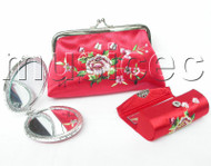set red colors Jewelry silk mirror bags pouches Boxes set T358A20