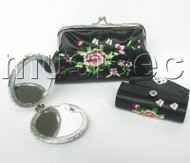set Black colors Jewelry silk mirror bags pouches Boxes set T355A20
