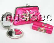set pink colors Jewelry silk mirror bags pouches Boxes set T354A20