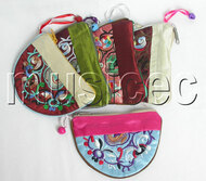 5pcs Mix colors zipper silk Jewelry bags handbag pouches T302A6