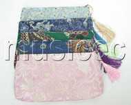 "NEW 8""X4"" 5pcs Mixed colors Jewelry silk bags handbag zipper pouches T116A08"