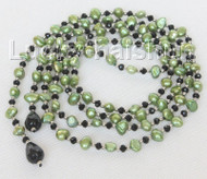 """Baroque 52"""" 8mm light green freshwater pearls necklace j10455"""